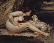 Nude Woman with Dog
