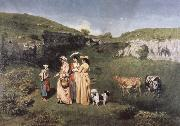 Gustave Courbet young women from the Village oil painting reproduction