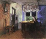 Harriet Backer by lamplight oil painting reproduction