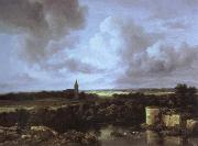 an extensive landscape with a ruined castle and a village church, Jacob van Ruisdael