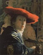 Jan Vermeer the girl with the red hat oil painting reproduction