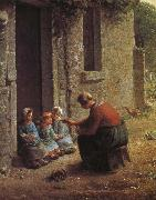 Woman feeding the children
