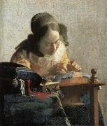 Lace embroidery woman, Johannes Vermeer