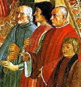Lorenzo de Medici between Antonio Pucci and Francesco Sassetti, with Giulio de Medici, fresco by Ghirlandaio, LEONARDO da Vinci