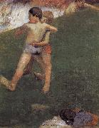 Paul Gauguin Wrestling kids oil painting reproduction