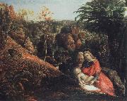 landscape with repose of the holy family, Samuel Palmer