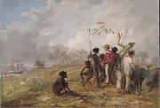 Thomas Baines Aborigines near the mouth of the Victoria River oil painting