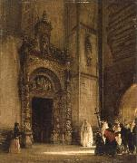 rudolph von alt side portal of como cathedral oil painting
