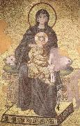 On the throne of the Virgin Mary with Child