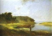 Alexei Savrasov Landscape with River and Angler oil painting on canvas