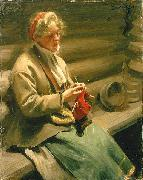 Dalecarlian Girl Knitting. Cabbage Margit,, Anders Zorn