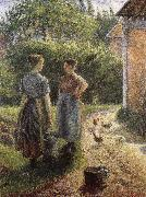Woman in front of farmhouse
