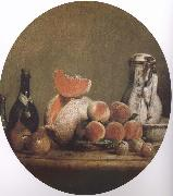 Cut melon and peach bottle still life etc