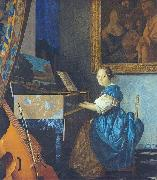 A Young Woman Seated at the Virginal with a painting of Dirck van Baburen in the background, Johannes Vermeer