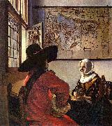 Officer and a Laughing Girl,, Johannes Vermeer