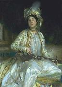 Sargent emphasized Almina Wertheimer exotic beauty in 1908 by dressing her en turquerie, John Singer Sargent