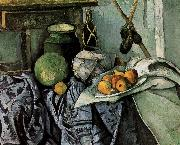 bottles and fruit still life, Paul Cezanne