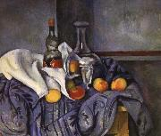 and fruit still life of wine, Paul Cezanne