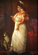 The Lady in the picture is Mahaprabha Thampuratti of Mavelikara,, Raja Ravi Varma