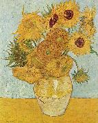Vase with Twelve Sunflowers, August, Vincent Van Gogh