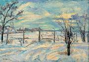 Waldemar Rosler Landscape in lights fields in the winter oil painting