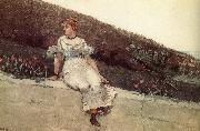 A woman sitting on a park wall, Winslow Homer