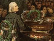 george bernard shaw franz liszt playing a piano built by ludwig bose. oil painting artist