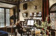puccini at home in the music room of his villa at torre del lago