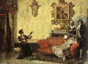 Women take part in the Spanish guitar her a small audience at home.