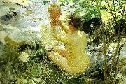 Anders Zorn kvinna som klar sitt barn oil painting reproduction