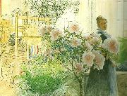 Carl Larsson azalea-karin med azalea oil painting reproduction