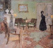 The woman standing in the living room