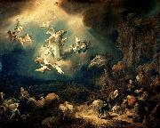 Govert flinck Angels announcing Christ's birth to the shepherds oil painting
