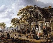 Salomon Rombouts A Village Street Scene oil painting