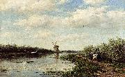 Willem Roelofs Figures On A Country Road Along A Waterway oil painting reproduction
