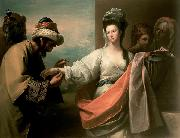 Isaac's servant trying the bracelet on Rebecca's arm, Benjamin West