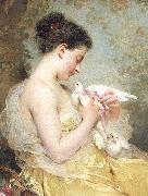 Charles Joshua Chaplin A Beauty with Doves oil painting artist