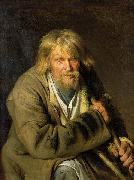Ivan Nikolaevich Kramskoi Old Man with a Crutch oil painting artist