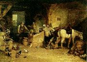 a country blacksmith disputing upon the price of i ron and the price charged to the butcher for shoeing his poney, J.M.W.Turner