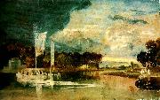 the thames at isleworth with pavilion and syon ferry, J.M.W.Turner