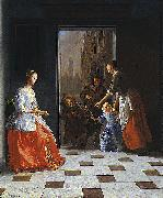 Jacob Ochtervelt Street Musicians at the Door oil painting reproduction
