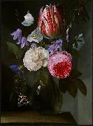 Roses and a Tulip in a Glass Vase.