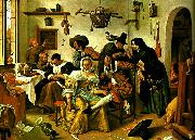 Jan Steen upp-och nedvanda varlden oil painting reproduction