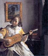 Youg woman playing a guitar, Johannes Vermeer