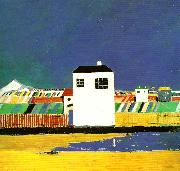 landscape with a white house, Kazimir Malevich