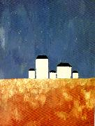 landscape with five houses, Kazimir Malevich