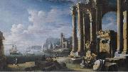 Leonardo Coccorante A capriccio of architectural ruins with a seascape beyond oil painting on canvas