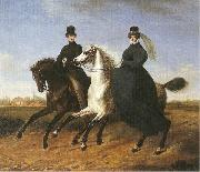 Marie Ellenrieder General Krieg of Hochfelden and his wife on horseback, oil painting