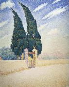 two cypresses mistral, Paul Signac
