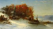 Regis-Francois Gignoux First Snow Along the Hudson River oil painting